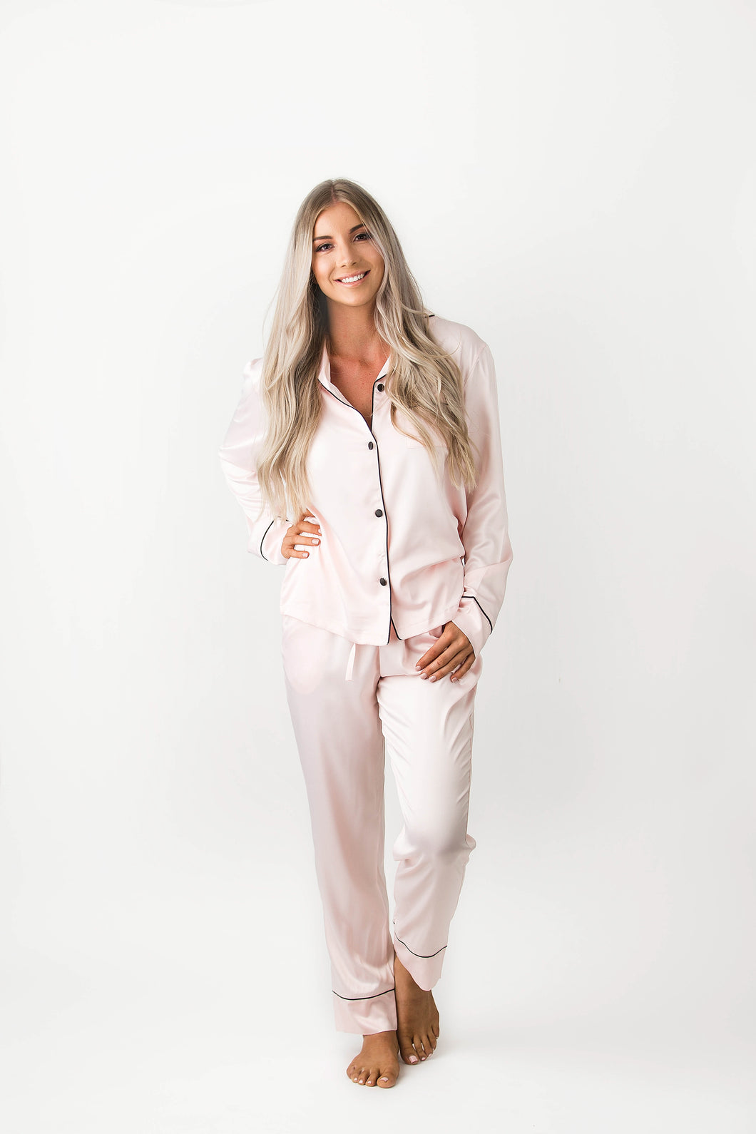 Luxe Silky Winter Set - Baby Pink