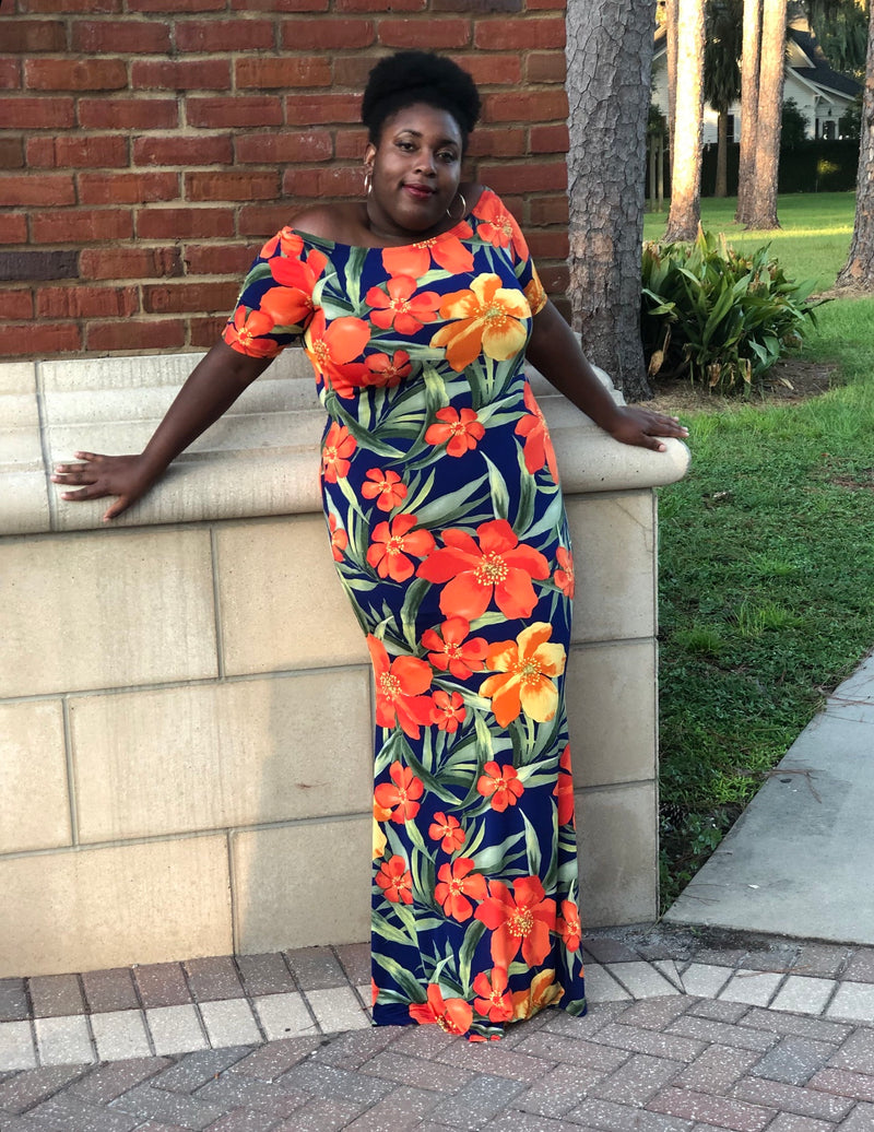 Orange 🍊 Tropical Dress (PLUS SIZES)