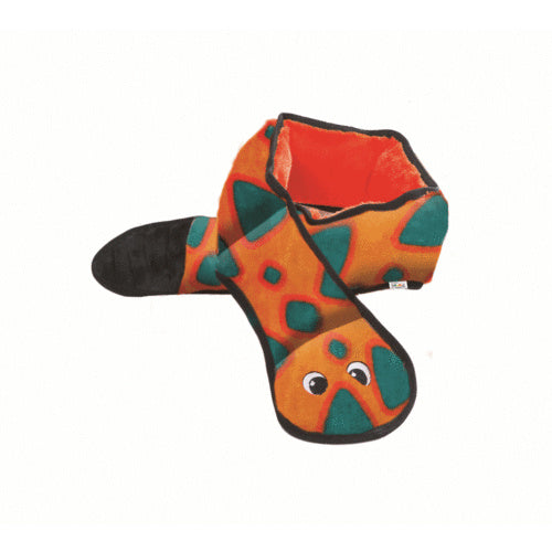 Invincible Snake 6 Squeaker Orange/Blue Outward Hound | Positive Dog Products | Adelaide