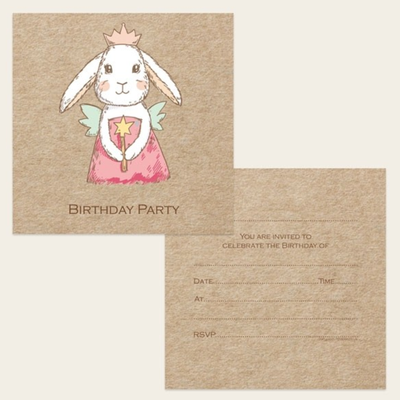 Bunny Fairy Party Invitations Pack 10