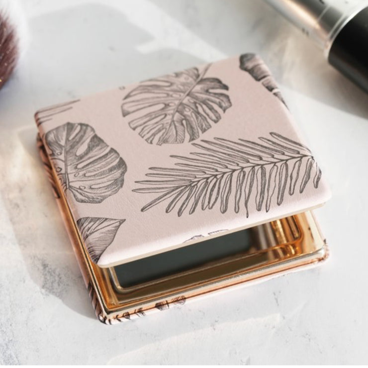 Lisa Angel Leaf Print Compact Mirror