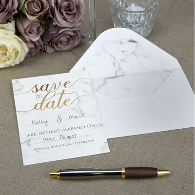 Scripted Marble Save The Date Cards