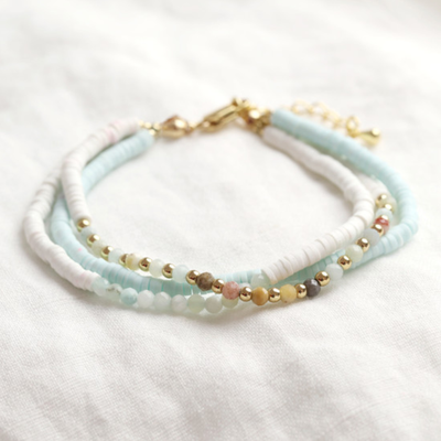 Lisa Angel Triple Layer Beaded Bracelet in Aqua & White