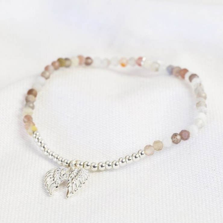 Lisa Angel Stone Bead and Wing Charm Bracelet Silver