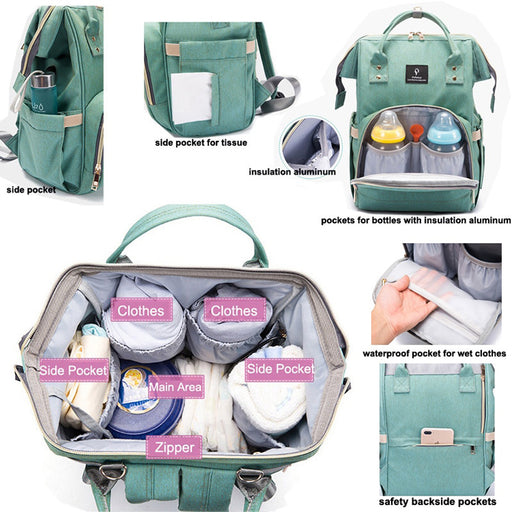 Large Capacity Waterproof Baby Diaper Bag With USB Interface