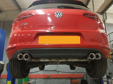 VW Golf MK7 2.0 GTD (without sound pack) Back Box Delete - Quad Exit Conversion - IN ROLLED Pipe Dynamics Performance Exhaust
