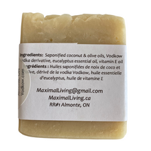 Load image into Gallery viewer, Vodkow soap with eucalyptus ingredients by Maximal Living