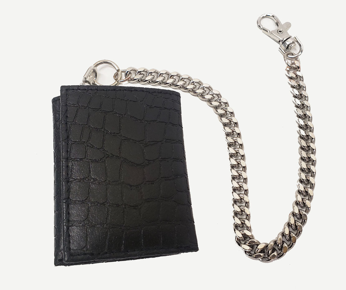 Boys Leather Tri-Fold Chain Wallet