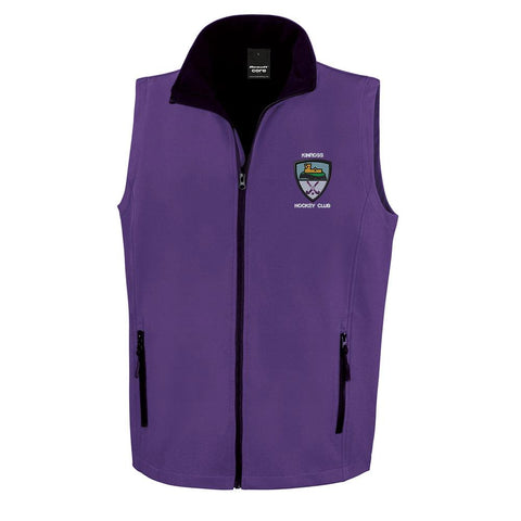 Kinross Hockey Club Mens Soft Shell Bodywarmer Purple