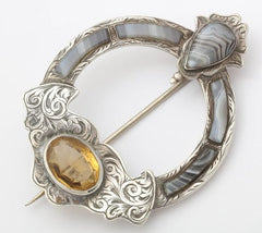 Scottish Agate and Citrine Brooch