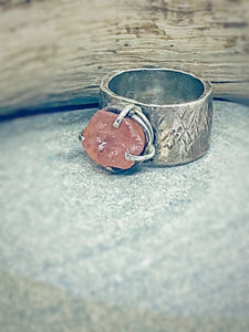 Rugged Sapphire - raw pink sapphire & sterling silver ring