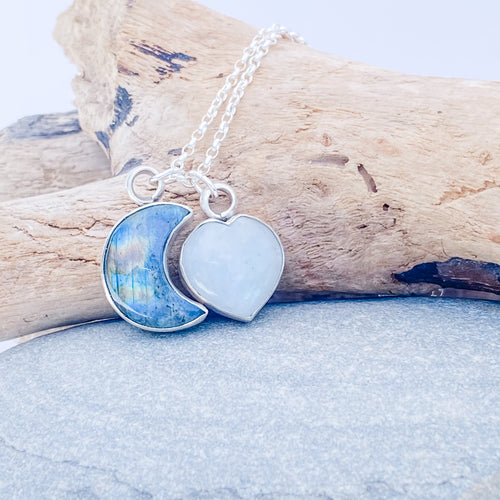 Charm Necklace - Crescent Moon & Heart