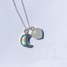 Load image into Gallery viewer, Charm Necklace - Crescent Moon & Heart