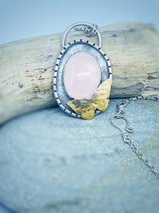 Butterfly - Rose Quartz and Sterling Silver Necklace