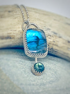 Pendulum - Double Labradorite and Sterling Silver Necklace