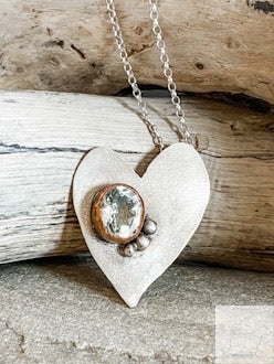 Whimsical Heart - Sterling Silver & Green Amethyst Necklace
