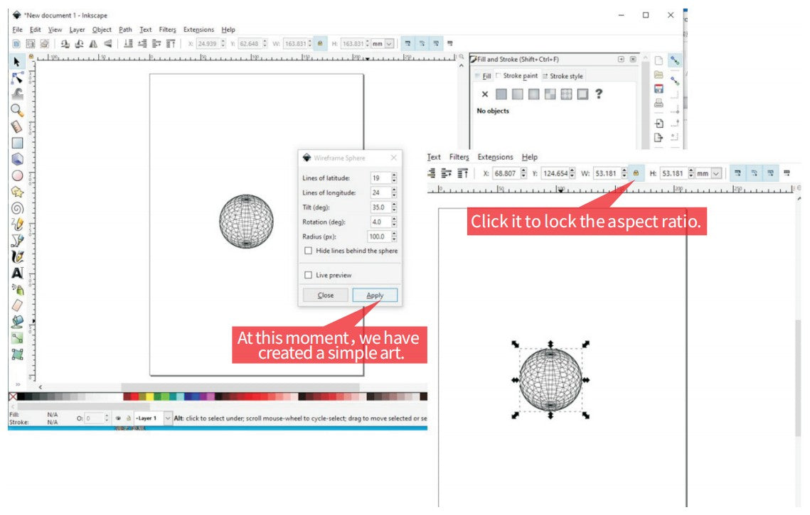 Inkscape SO-1 1.0 Operation Guide steps 3, You can drag the arrows to change the size and shape of your object.