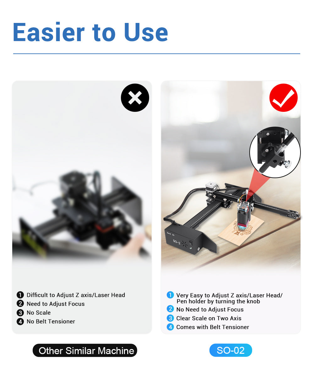 Sovol SO-2 Very Easy to Adjust Z axis/Laser Head/Pen holder by turning the knob  2.No Need to Adjust Focus 3. Clear Scale on Two Axis 4. Comes with Belt Tensione