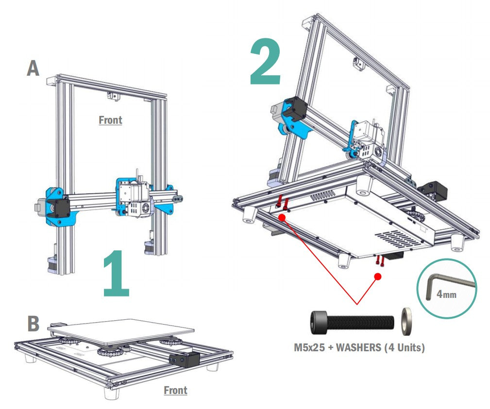 Sovol3D SV01 Assembly Steps 1-2, Follow the installation steps to assemble the 3D printer by DIY