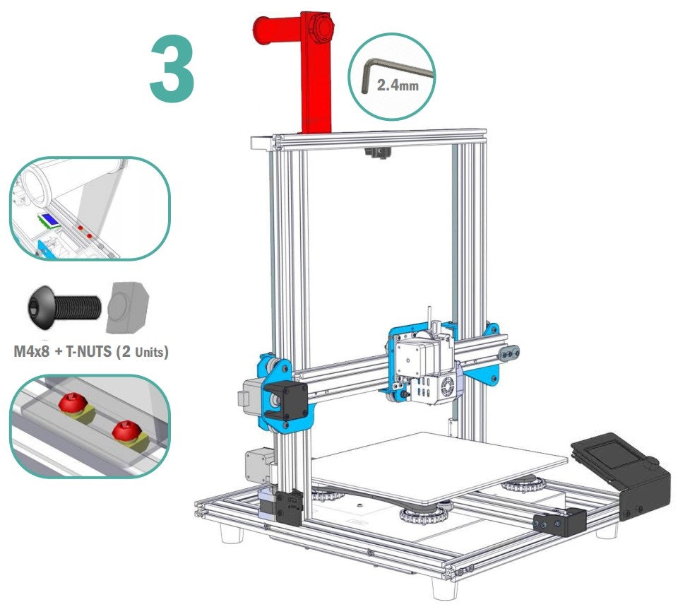 Sovol3D SV01 Assembly Step 3, Follow the installation steps to assemble the 3D printer by DIY