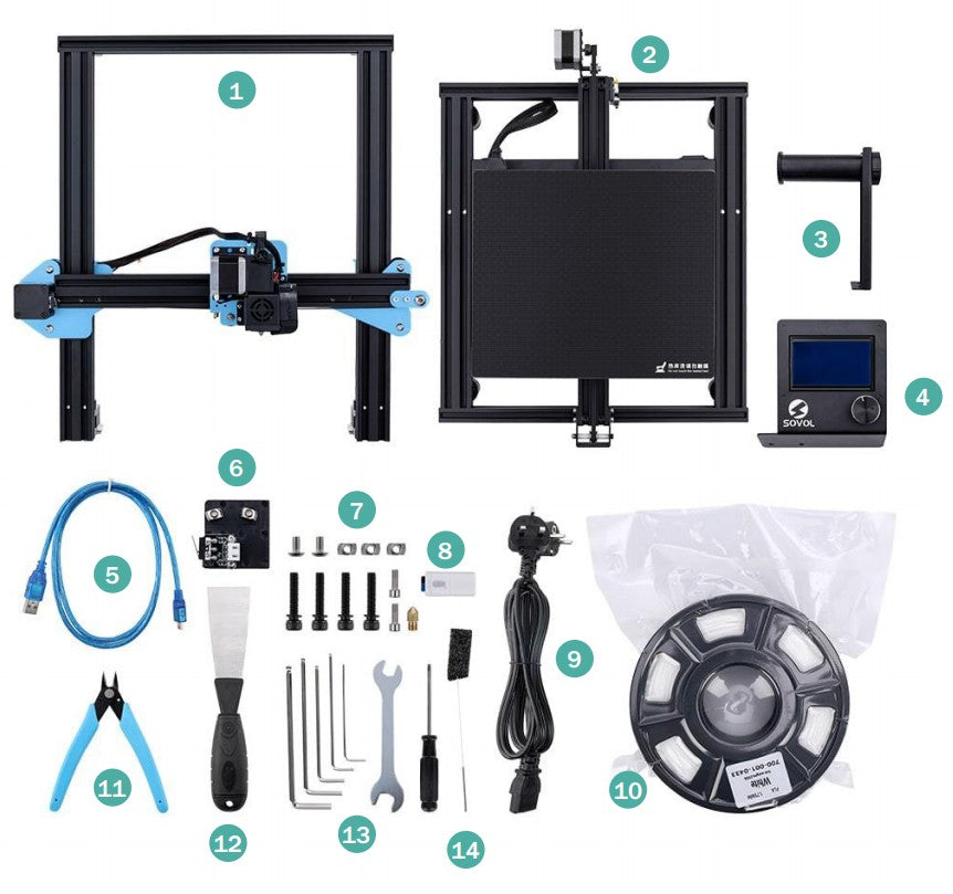 When the customer opens the box after receiving the SVO1 3D printer, he will see the accessories in the picture.
