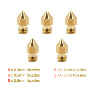 Different Size MK8 Extruder Nozzles 0.2/0.3/0.4/0.5/0.6/0.8mm