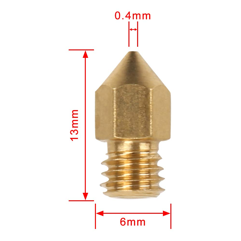 3D Printer Mk8 Extruder Nozzle 10Pcs Mixed Size BrassNozzles Print Head 0.2/0.4/0.6/0.8/1.0mm - Sovol3d