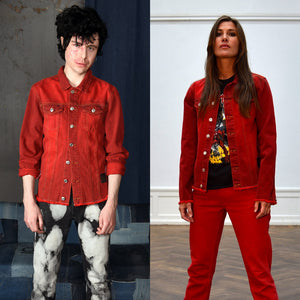 UNISEX DENIM JACKET RED
