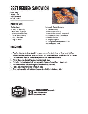 best rueben sandwich recipe printable recipe card