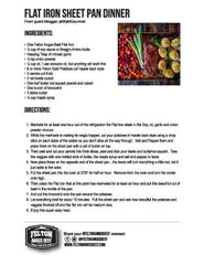 Download the recipe for broiled flat iron steak with veggies