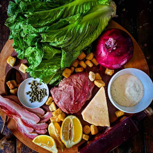 Ingredients for summer salad with steak recipe