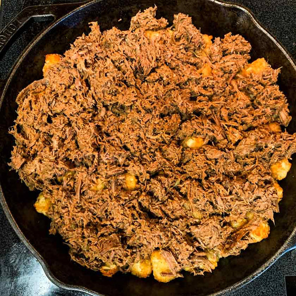 tater tot nachos with shredded beef