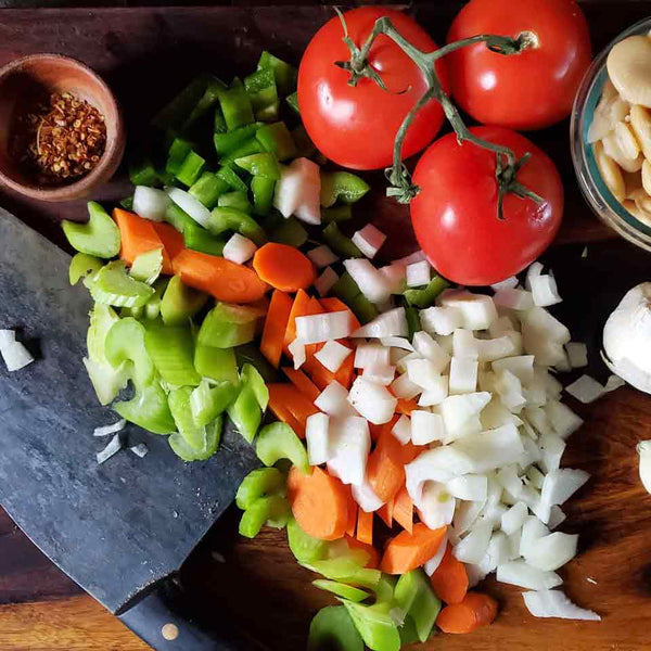 Vegetables used to make oxtail caribbean stew