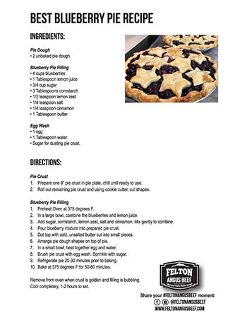 a picture of the recipe card for the best blueberry pie recipe