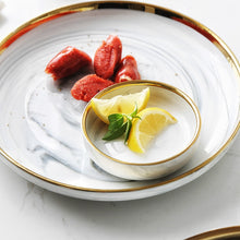 Load image into Gallery viewer, Bella Marble Swirl with Gold Trim Dinnerware