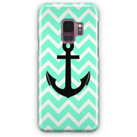Aqua Chevron With Black Anchor Samsung Galaxy S9 Plus Case | Casescraft