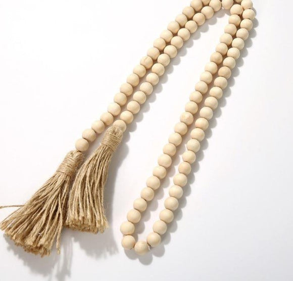 Wooden Beads Garland with Tassels