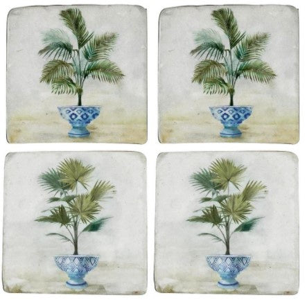 S/4 Palms in Pots Resin Coasters