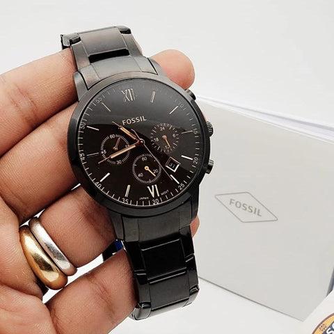Fossil Black Metal band watch