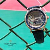 Patek Philippe black leather skeleton