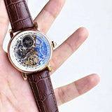 Patek Philippe skeleton brown leather