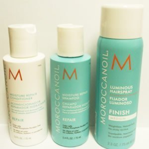 Moroccanoil Moisture Repair Shampoo (2.4Oz) Conditioner (2.4Oz) And Luminous Hairspray Medium Finish (2.3Oz)