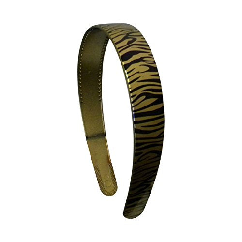Gold 1 Inch Wide Plastic Headband With Zebra Strokes Hair Band For Women And Girls