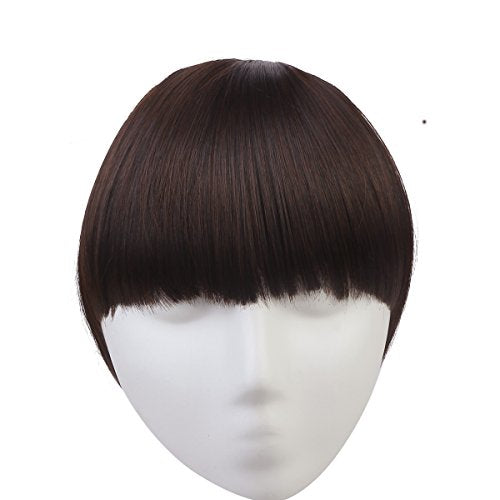 Sarla Synthetic Hairpieces False Bangs Hair Extensions Clip On Bangs Extension Neat Fringe Bangs Hair Piece B3 (2/33 Dark Chestnut Brown)