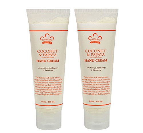 Nubian Coconut And Papaya Hand Cream  With Vanilla Beans And Coconut Oil, 4 Fl. Oz. Each