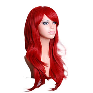 Rise World Wig New Fashion 28 Long Curly Heat Resistant Big Wavy Cosplay Full Hair Wig(Red)
