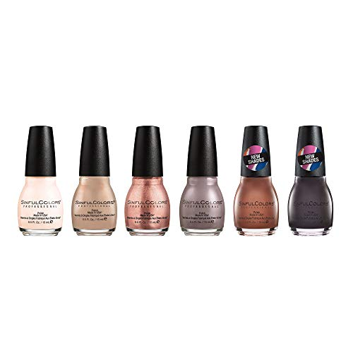Sinfulcolors Nude Nail Polish Collection, 6 Count