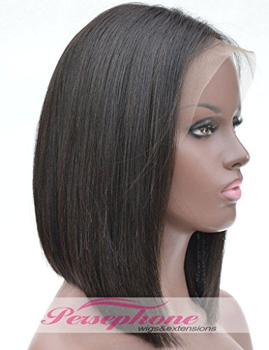 Short Bob Wig Human Hair Lace Front Wigs For Black Women Side Part Best Brazilian Remy Straight Hair Human Hair Lace Wig With Baby Hair 150 Density 12 Inches Natural Color