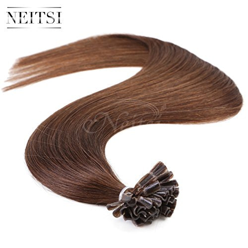 Neitsi 25S/Lot 1G/S 100% Remy Human Hair Nail U Tip Hair Extension (16Inch, 4#)