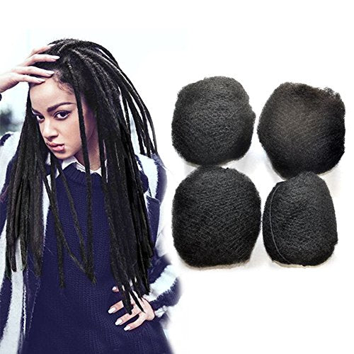 Yonna Hair 4Pcs/Lot Tight Afro Kinky Bulk Hair 100% Human Hair For Dreadlocks,Twist Braids Off Black, #1B,16 Inch